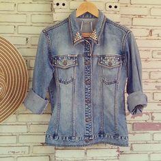 Vintage Studded Jean Jacket Size M by KodChaPhorn on Etsy, $55.00