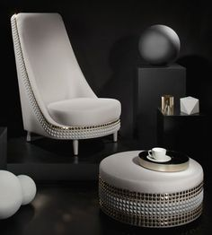 "Lee Broom ""Salon"" Chair and foot stool"