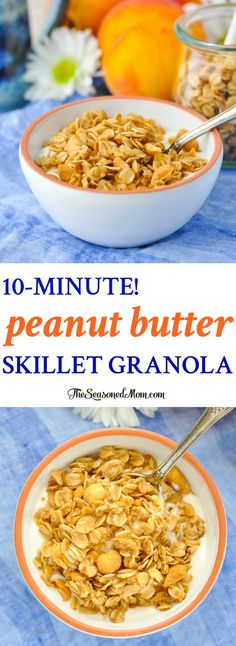 Try this Peanut Butter Skillet Granola for an easy breakfast recipe! Breakfast For Dinner, Best Breakfast, Breakfast Ideas, Breakfast Time, Delicious Breakfast Recipes, Brunch Recipes, Dinner Recipes, Brunch Dishes, Quick Granola Recipe