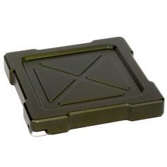 MK-1 Tactical Coaster in Olive Drab Green - A machined aluminum coaster with several different types of bottle openers integrated into the bottom. Includes a standard bottle opener, wrench for metal twist off caps, wrenches for several different sizes of plastic caps, and a pry bar for opening can tabs. Design is military / industrial. A unique gift for men.