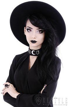 Tiberio dark side restyle wide brim black wool modern witch look nu goth women hat Nu Goth, Goth Hat, Black Wide Brim Hat, Witch Outfit, Black Goth, Goth Women, Modern Witch, Wide-brim Hat, Vintage Inspired Dresses