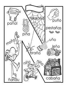24 Coloring Book In Spanish Spanish Vocabulary, Spanish Language Learning, Teaching Spanish, Teaching Resources, Name Activities, Spanish Activities, Kindergarten Activities, Preschool, Spanish Teacher