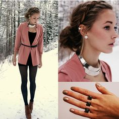 black tights, pink cardigan and brown lita boots outfit