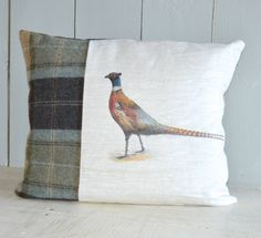 Linen and Tweed Pheasant Cushion – Rustic Country Crafts
