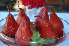 Poached Organic Christmas Pears in Port Wine Sauce. Christmas dessert? I think YES!