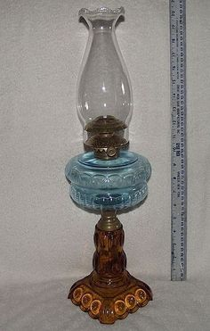 "Adams & Co. ""Moon & Star"" pattern Blue & Amber Glass Oil Lamp with Unused Collin's Burner, Ca. 1880-1890"