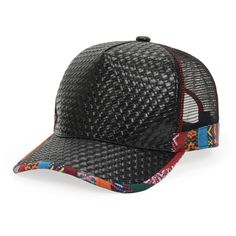 BLACK  Pu Woven National Patchwork Mashup Style Mesh Sun Hat Men Women Good Quality Breathable Baseball Cap