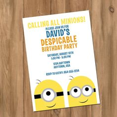 Despicable Me Minion Inspired Birthday Party by DigiPrintz on Etsy, $10.00