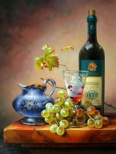 Gabor Toth ~ still life oil ~ white grapes, wine bottle glass, ceramic pitcher on marble ledge Wine Painting, Fruit Painting, Painting Still Life, Still Life Art, Handmade Wall Stickers, Decoupage, Painting Accessories, Still Life Photos, Wine Art