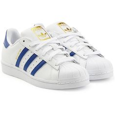 Adidas Originals Leather Superstar Sneakers (120 NZD) ❤ liked on Polyvore featuring shoes, sneakers, white, white lace up shoes, leather trainers, leather sneakers, striped shoes and white leather sneakers