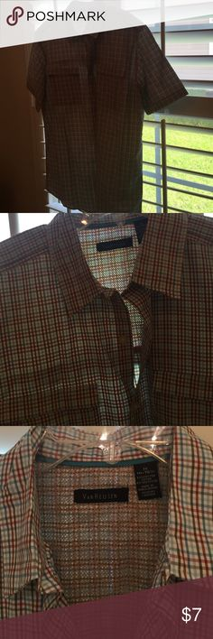New van  Heusen men's check shirt teal cinnamon M Sport fisherman type shirt. Bought wrong size for hub. Never worn but took off tags. Medium poly cotton. Check is white teal cinnamon tiny check. Inside collar has net detail see close up. Back had the extra layer. See close up. Van Heusen Shirts Casual Button Down Shirts