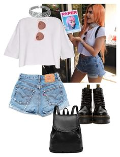 """""""Kylie Jenner Coachella """" by ccfashionstylist ❤ liked on Polyvore featuring Levi's, Helmut Lang, Bling Jewelry, Dr. Martens and Blanc & Eclare"""