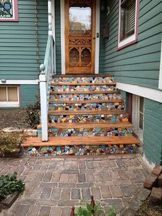 Cement Steps, Tile Steps, Wood Steps, Front Door Steps, Porch Steps, Wood Front Doors, Mosaic Stairs, Outdoor Steps, Concrete Stairs