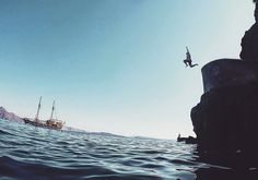 Cliff Jumping in Santorini, Greece