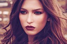 Burgundy lips, gold eyes // Harpersbazaar.com