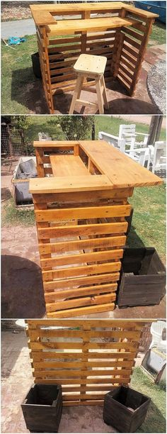 How about having counter table into one pallet idea? Well see this creation! You will be catching so much of the One Pallet Ideas, Pallet Art, Pallet Projects, Woodworking Projects, Diy Projects, Diy Pallet, Pallet Furniture Plans, Recycled Furniture, Diy Furniture