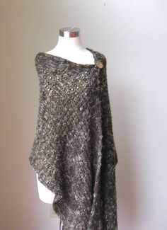 BROWN SHAWL PONCHO Wrap Hand Knitted Fall Fashion by marianavail, $75.00