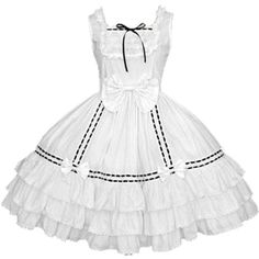 Partiss Women Round Collar Pleated One-Piece Cotton Dress Lolita... ($44) ❤ liked on Polyvore