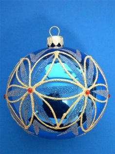2-25-034-ROYAL-BLUE-SILVER-KUGEL-BALL-EUROPEAN-BLOWN-GLASS-CHRISTMAS-TREE-ORNAMENT