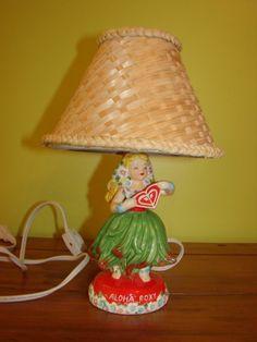 Aloha Roxy Little Grass Skirt Ceramic Mini tiki luau Hula Girl Lamp wicker Shade