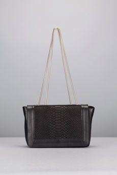 Cosmoparis - Sac - Sac noir cuir reptile anse métal Mujia