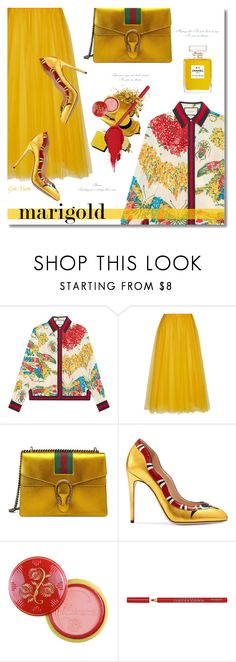 """Stay Golden: Dressing in Marigold ... 2017"" by greta-martin ❤ liked on Polyvore featuring Gucci, Rochas, Chanel, Bourjois, contestentry, polyvorecontest and marigold"