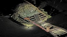 Handout picture released by the National Institute of Anthropology and History (INAH in Spanish) showing a digital image and a laser scan of a tunnel at the Temple of the Feathered Serpent (Serpiente Emplumada) in the Teotihuacan complex in Mexico City, on October 29, 2014.