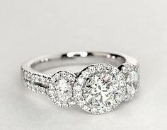 Monique Lhuillier Three-Stone Halo Pavé Diamond Engagement Ring in Platinum (3/4 ct. tw.)