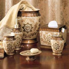 Good Lux Damask 4 Piece Bath Accessory Set (Antique Silver / Copper ... | Guest  Bathroom | Pinterest | Bath Accessories, Damasks And Bath