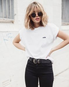 Love small details..the shades, writing on the top and belt buckle make the outfit look so effortless but stylish