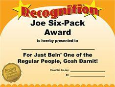 Joe Six-Pack Award - Free Printable Award - Funny Award Ideas