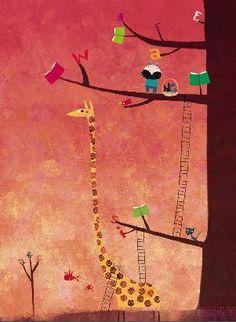 In spring … Books blossom trees / En primavera… florecen los libros en los árboles (ilustración de Nicolas Gouny)