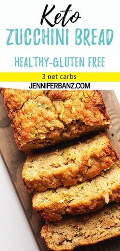 This low carb and keto zucchini bread is made with almond flour and is perfectly moist. Walnuts, blueberries or chocolate chips can be added for extra flavor and crunch. I also give instructions for freezing. 3 Net Carbs This low Keto Foods, Keto Snacks, Healthy Low Carb Snacks, Keto Meal, Healthy Fats, Gluten Free Zucchini Bread, Zucchini Bread Recipes, Healthy Zucchini Bread, Healthy Pumpkin