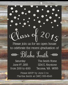 custom graduation party invitation graduation open by viabarrett - Graduation Open House Invitation Wording