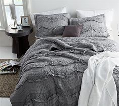Provide luxurious amenities for your bedding with the Single Tone Relaxing Chevron Ruffles Quilt Set by Byourbed . This quilt set includes one cozy quilt. Plum Bedding, Cute Bedding, Twin Xl Bedding, Boho Bedding, Quilt Bedding, King Comforter, Modern Bedding, Twin Quilt, Ruffle Comforter