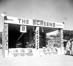 Photo Studio/Feb.52, A14f  An exterior view of the one of the Indian Stalls in the International film festival in Bombay. Photo Division #bollywoodirect #bollywood #filmfestival #rarepic
