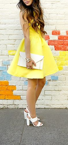 Chic and Repeat Bright Yellow Backless Dress
