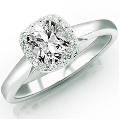 0.6 Carat Cushion Cut / Shape 14K White Gold Classic Prong Set Halo Style Diamond Engagement Ring ( G-H Color , SI1 Clarity )