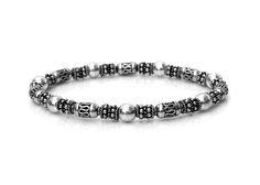 Bracelet homme Bracelet de perles de Bali en argent Sterling