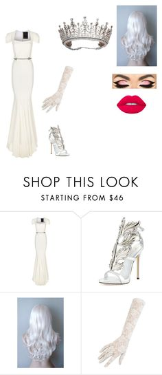 """Gotham OC White Queen"" by makayla-cheyane-frazier ❤ liked on Polyvore featuring Roland Mouret, Giuseppe Zanotti, TIARA and Lime Crime"