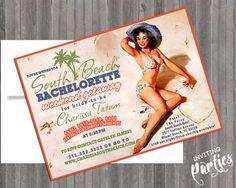Beach Destination Vintage Pin Up Girl Invitation- Bachelorette party, Hens night, Lingerie Shower print file Printed OPTIONAL