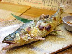 'Ayu-no-Shioyaku' is a broiled sweetfish with salt.