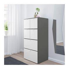 VISTHUS Lipasto, 6 laatikkoa, harmaa, valkoinen harmaa/valkoinen 63x126 cm