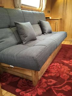 Our Canterbury click clack sofa bed custom made in matching fabric same as the dinette seating