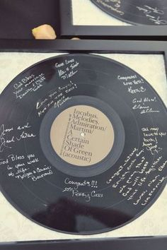 Wedding record guest book. Find your wedding song as a record and have the guests sign it.