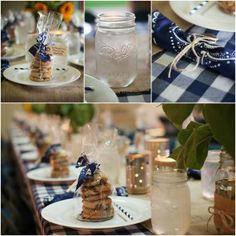 Rehearsal BBQ | cookies, mason jar water glasses and charming gingham and bandana table clothes and napkins.