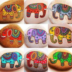 elephant design - 50 Best Animal Painted Rocks for Beginner Rock Painters Dot Art Painting, Rock Painting Designs, Pebble Painting, Pebble Art, Stone Painting, Watercolor Art, Stone Crafts, Rock Crafts, Caillou Roche
