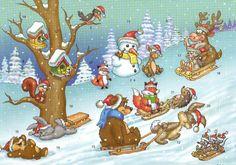 älterer Adventskalender Winterliches Vergnügen Tiere des Waldes fahren Schlitten