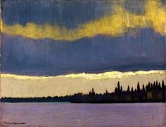 "artgalleryofontario: "" The Gleam, Northern Quebec, c. 1935 Franz Johnston, Canadian, 1888 - 1949 Oil on panel Overall: x cm Gift from the Fund of the T. Eaton Co. for Canadian Works of. Canadian Painters, Canadian Artists, Landscape Art, Landscape Paintings, Emily Carr, Tom Thomson Paintings, Art Gallery Of Ontario, Modernisme, Group Of Seven"