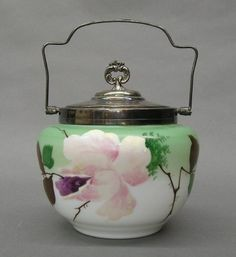 Victorian Milk glass biscuit barrel